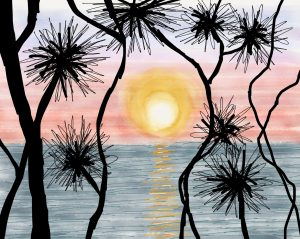 Illustration of a beautiful sunset with spiky pandanus tangled in the foreground