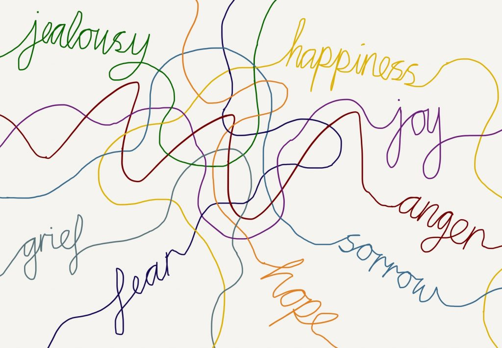 Often our various emotions form a complex tangle, just like the lines of the emotion words in this illustration for Groves' and Smith's book Untangling Emotions