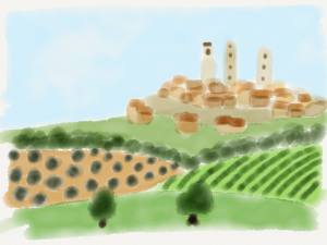 Watercolour Illustration of the fictitious Italian town of Monteriano, scene of much of the character development and thematic development of Forster's Where Angels Fear to Tread